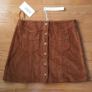 NEW 70's Style Corduroy Button Front Skirt NWT